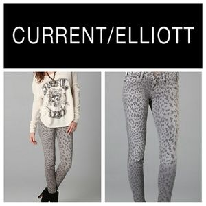 Current/Elliott Grey Leooard Print Stilletto Jeans